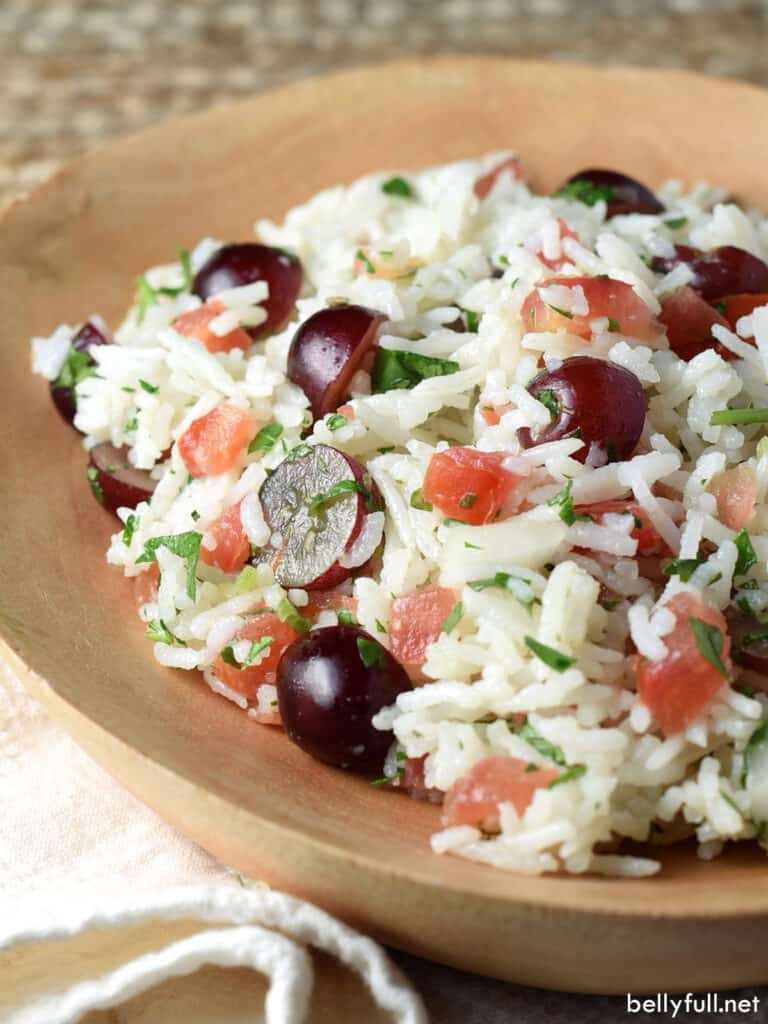 rice and grape salad in dish