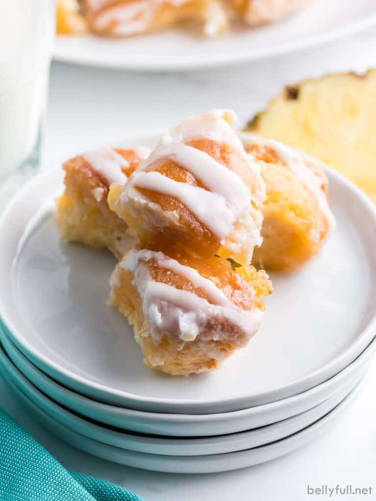 pieces of glazed dough bites on white plate