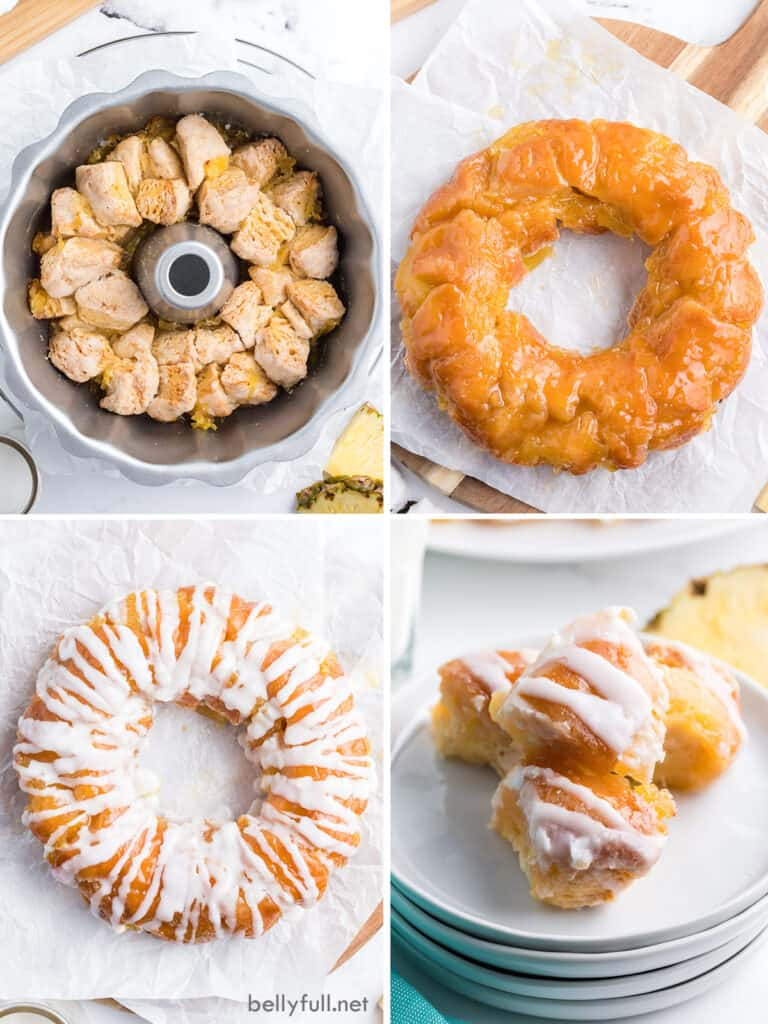 4 picture collage how to make Pull Apart Monkey Bread