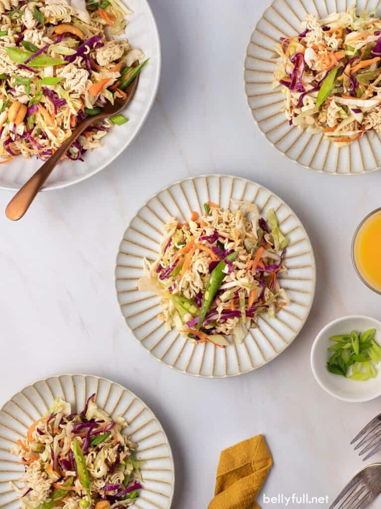 overhead plates of asian ramen salad