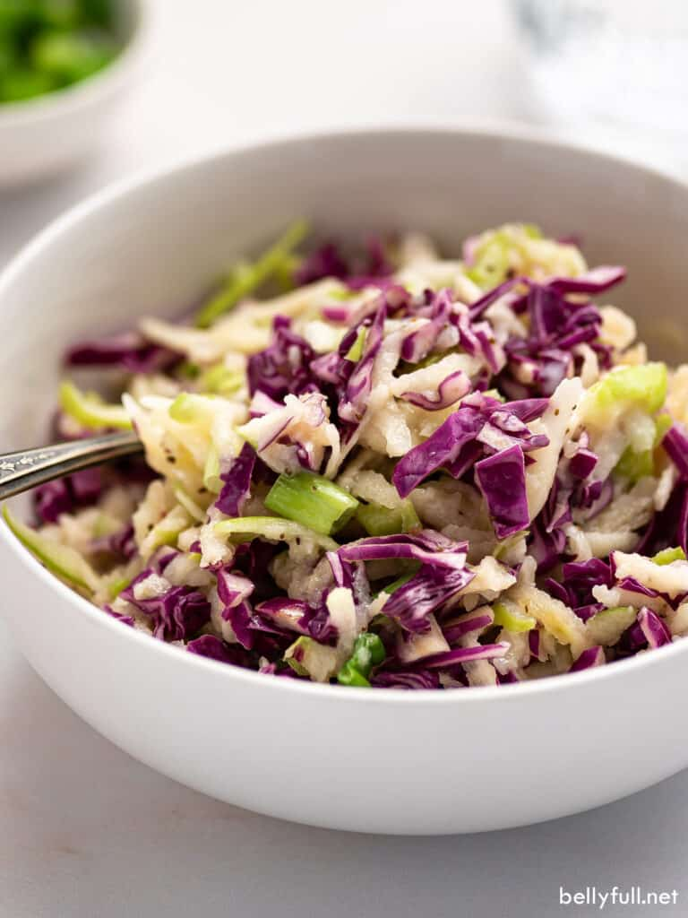 bowl full of red cabbage apple coleslaw