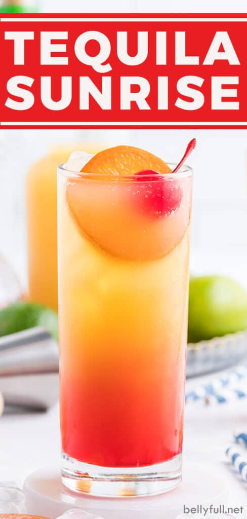 pin for Tequila Sunrise drink recipe