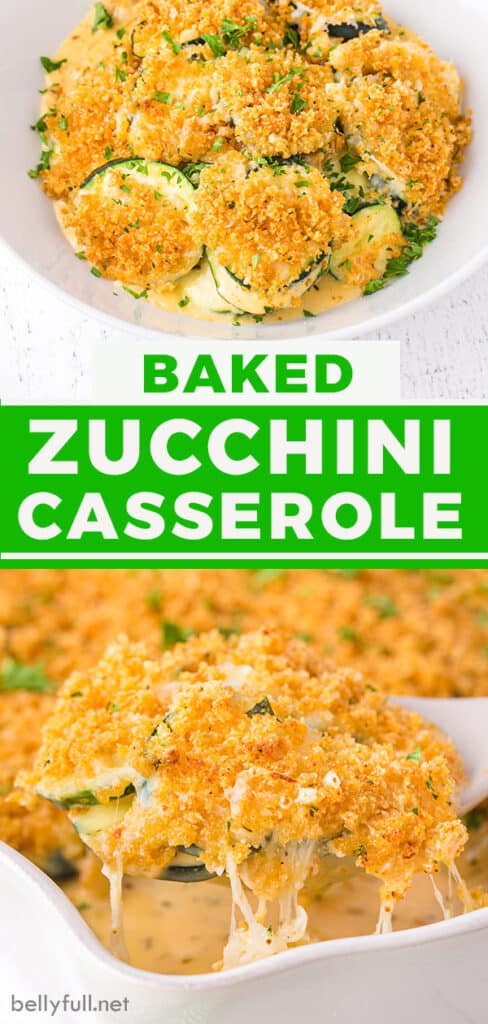 pin for baked zucchini casserole recipe