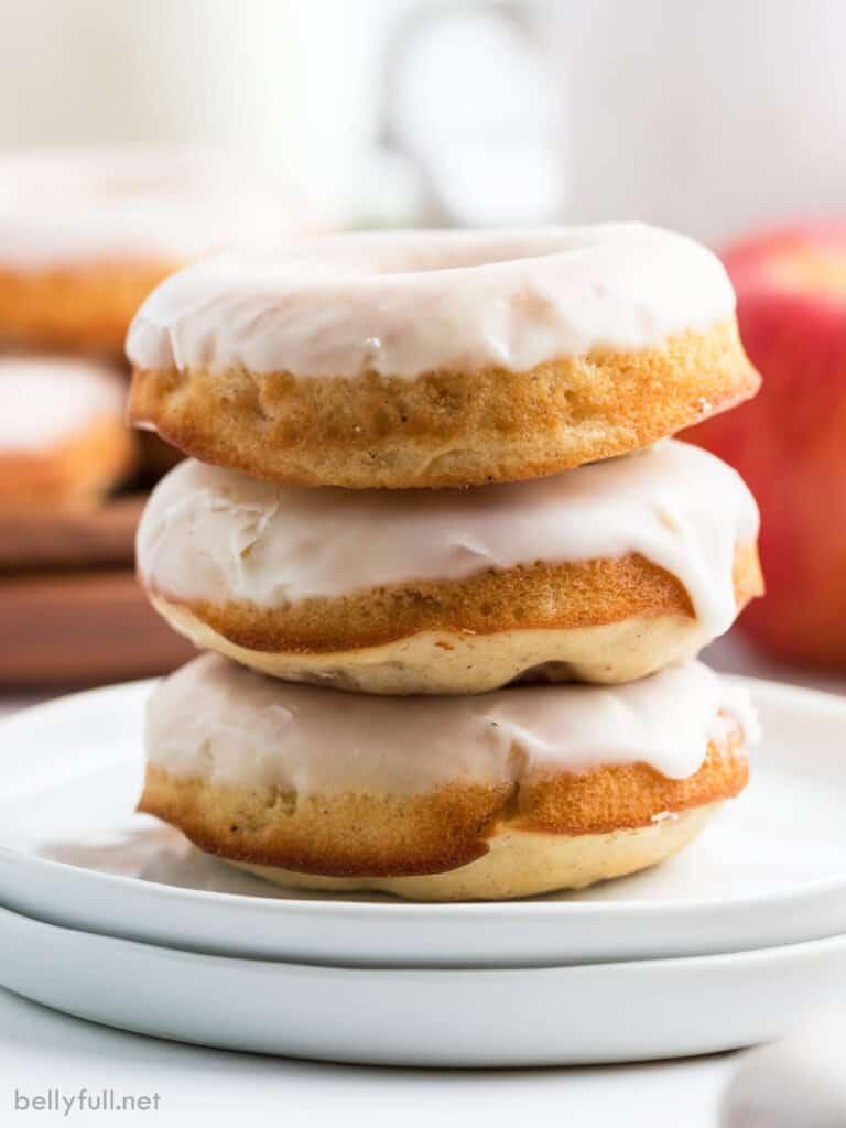 stack of three glazed donuts