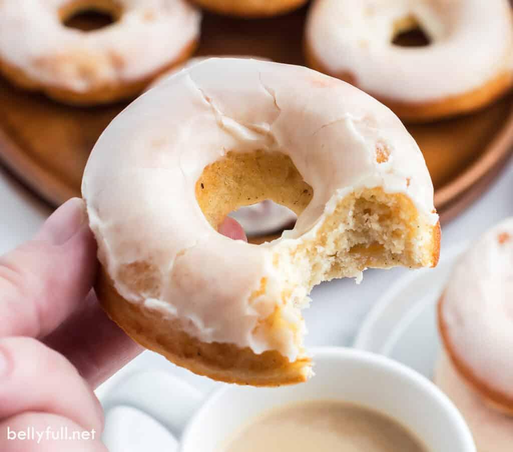 glazed donut with bite taken