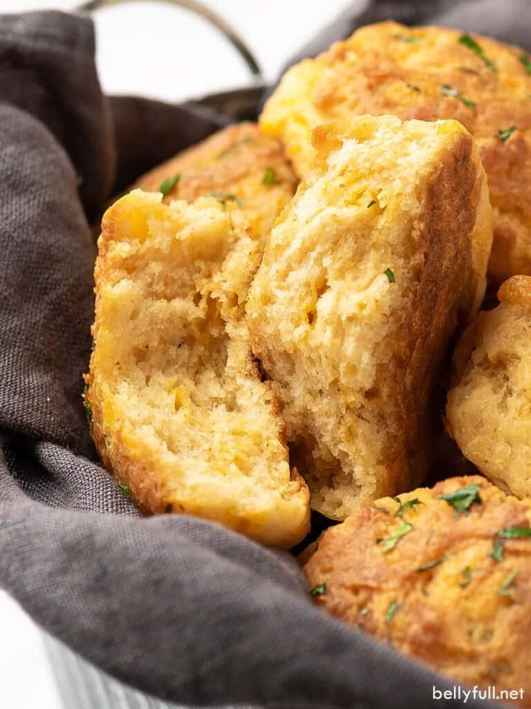 split open biscuits in bread basket