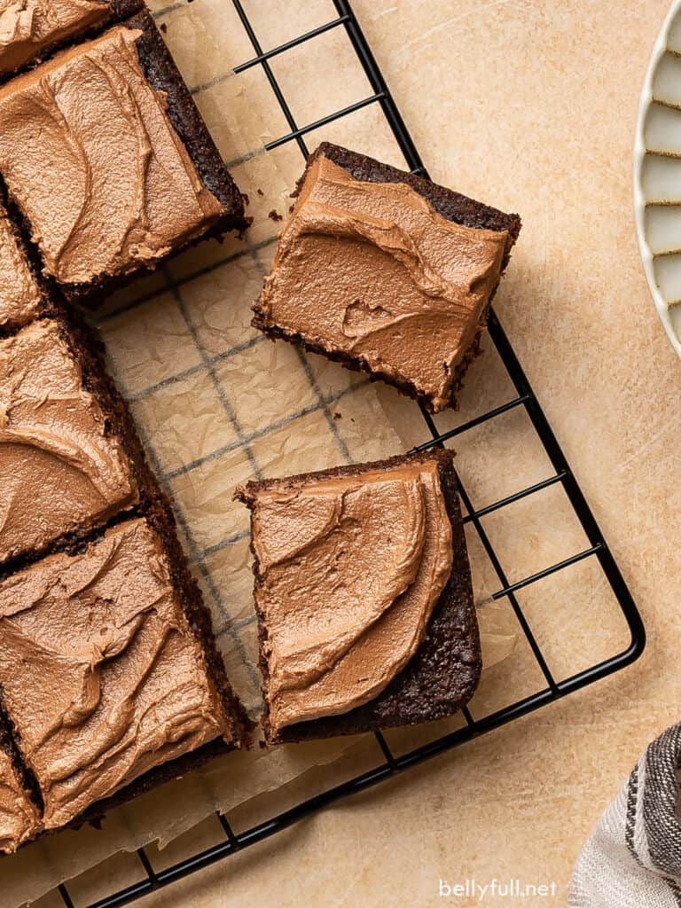 overhead sliced squares of frosted chocolate cake on wire rack