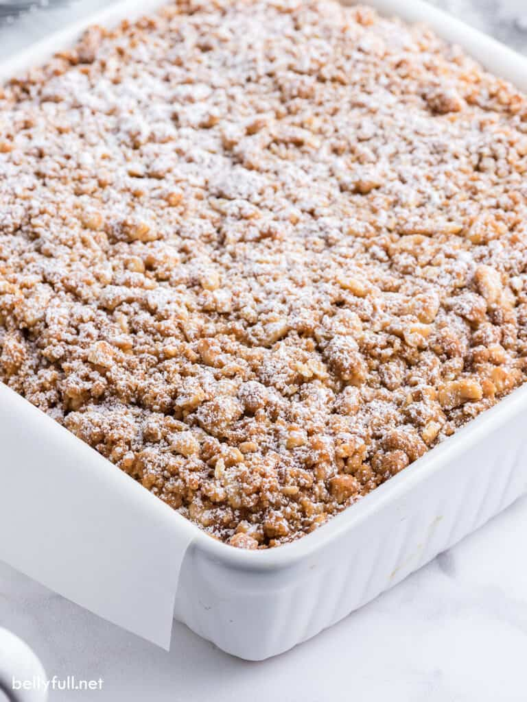 coffee cake with streusel topping dusted with powdered sugar in baking dish
