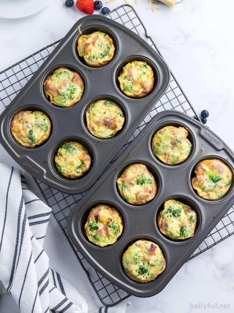 overhead baked egg muffin cups in 2 6 slot muffin tins