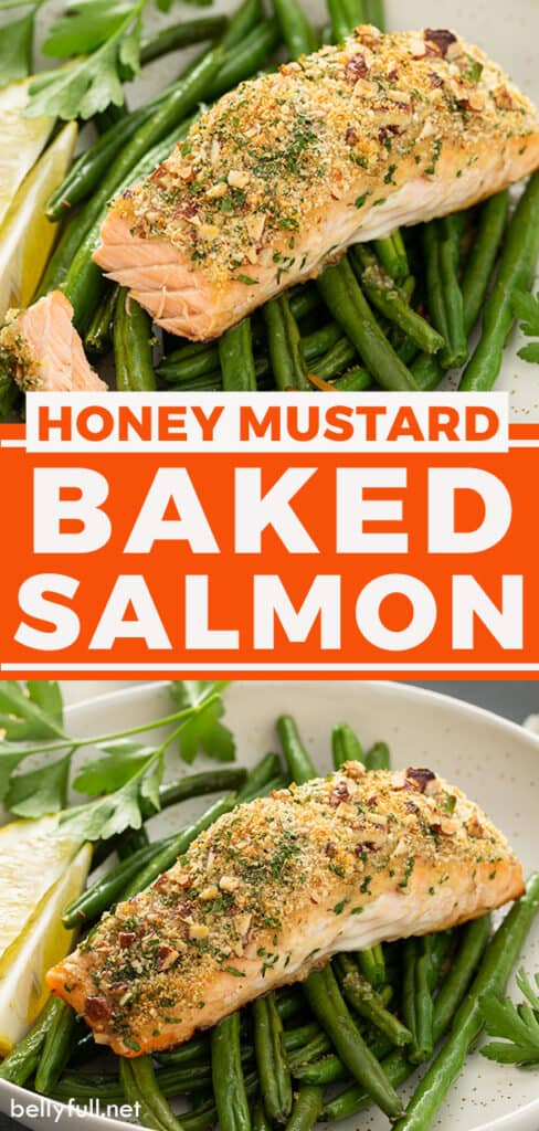 pin for honey mustard baked salmon recipe