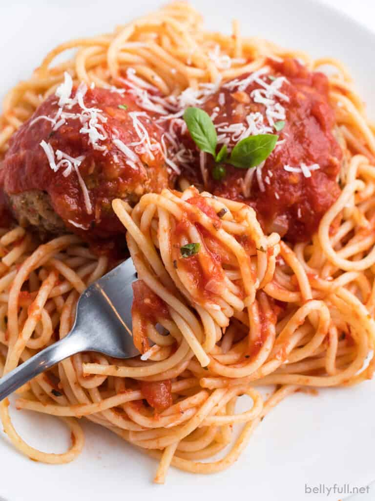 spaghetti with marinara sauce swirled on fork