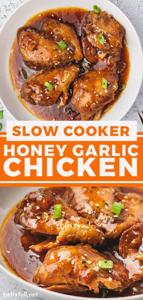 pin for slow cooker honey garlic chicken recipe