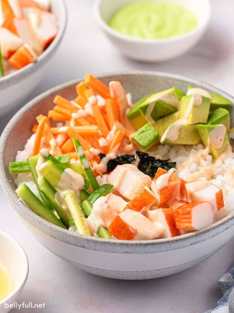 side angle deconstructed California Roll in bowl