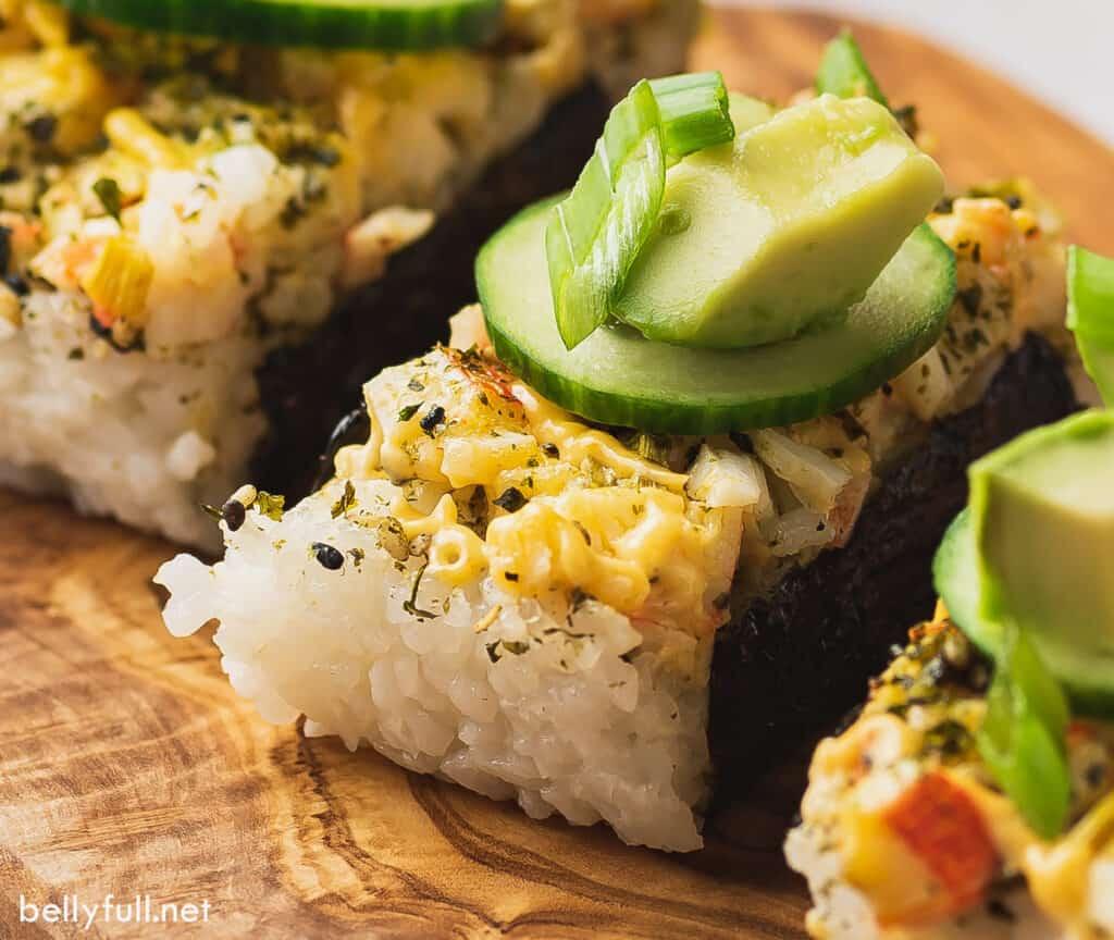 close up portion of baked sushi casserole