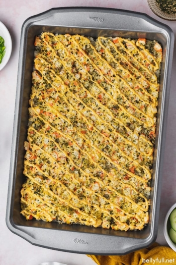 overhead sushi bake in casserole pan