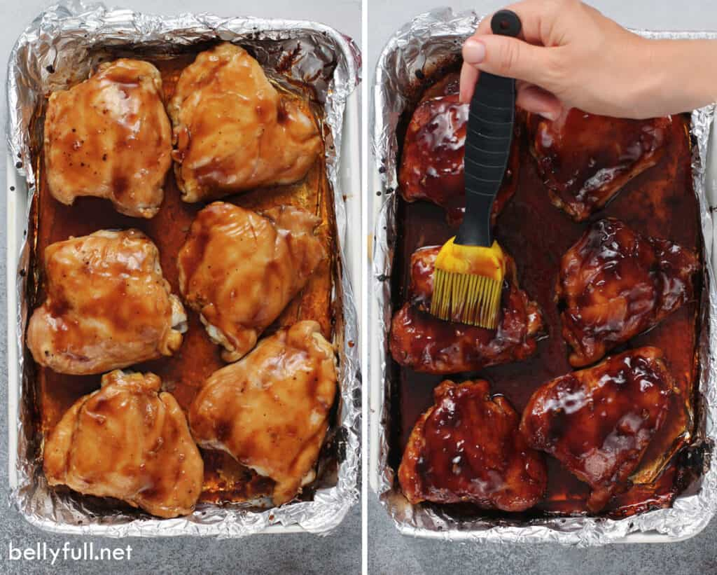 side by side picture of chicken thighs being basted with Teriyaki sauce