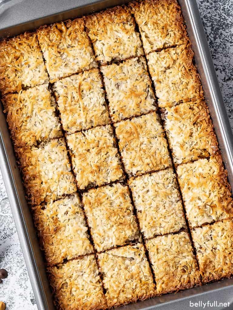sliced 7 layer bars in baking pan