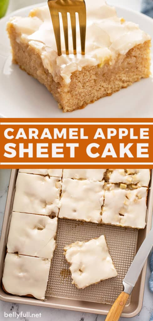 pin for caramel apple sheet cake recipe