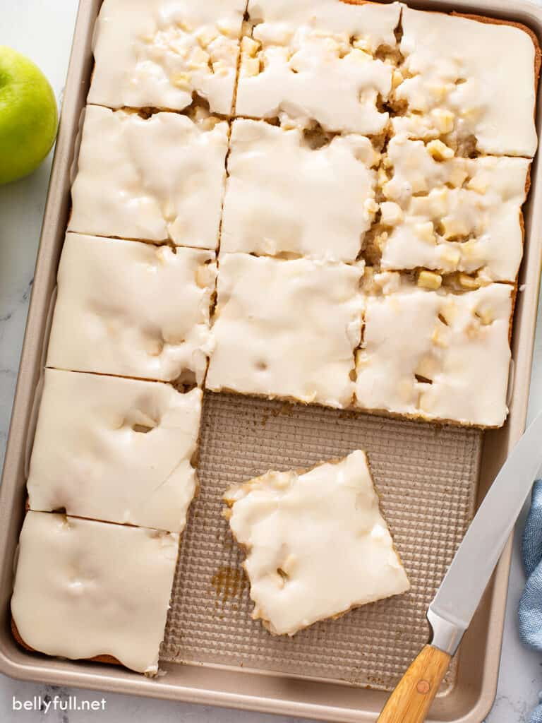 apple sheet cake cut into squares