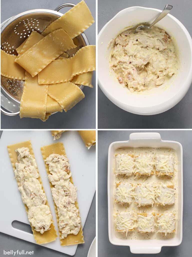 4 pictures for how to make chicken alfredo lasagna rolls