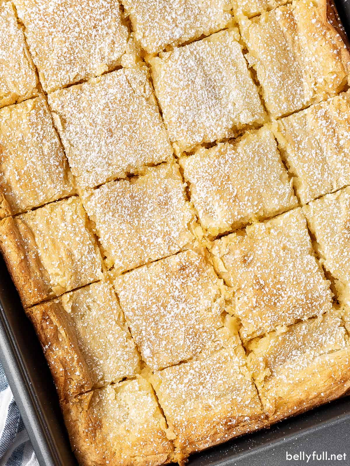 St Louis gooey butter cake cut into squares