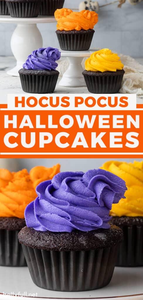 pin for hocus pocus halloween cupcakes recipe