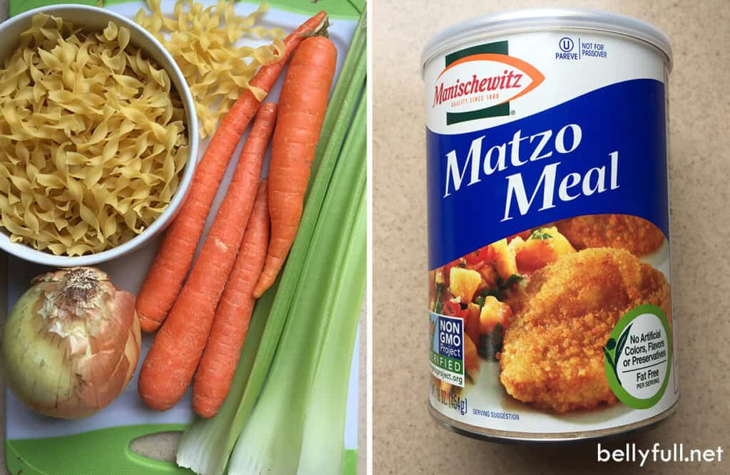matzo meal and soup ingredients