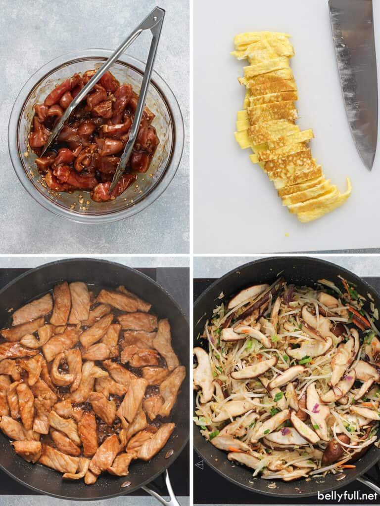 4 process shots of how to make moo shu pork