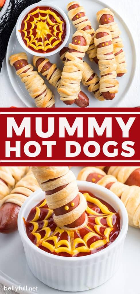 Two image pin of mummy dogs recipe