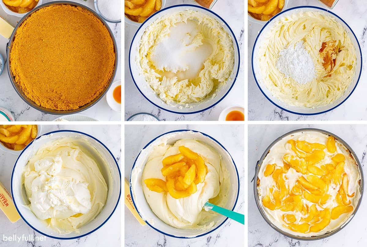 Six process images of apple pie cheesecake