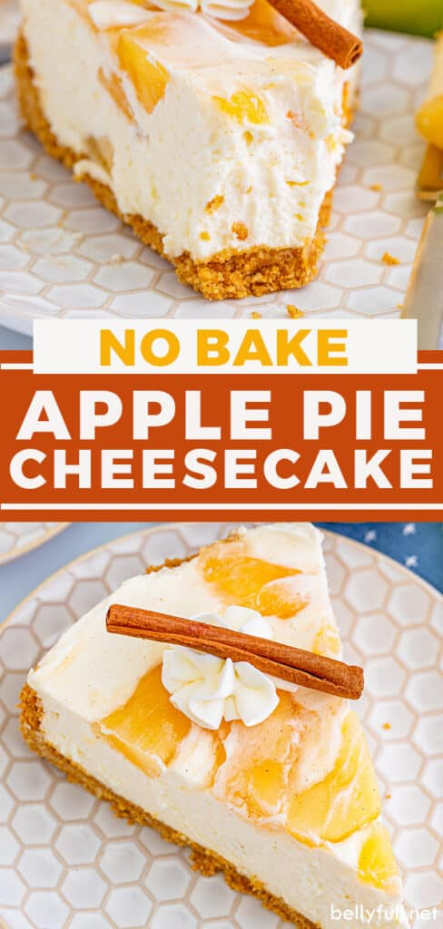 pin with text overlay for no bake apple cheesecake recipe