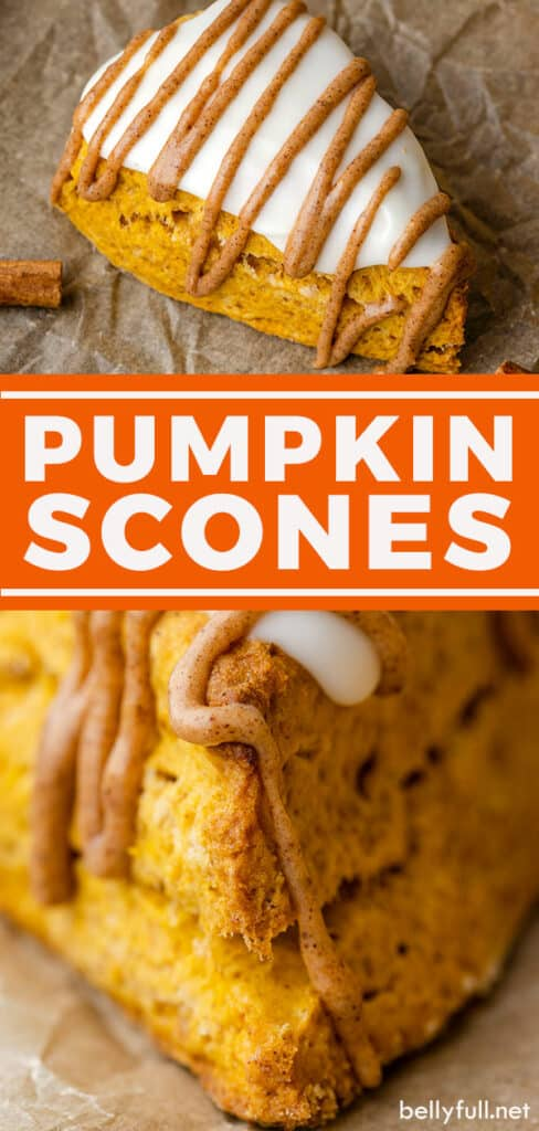 Two images of pumpkin scones with glaze