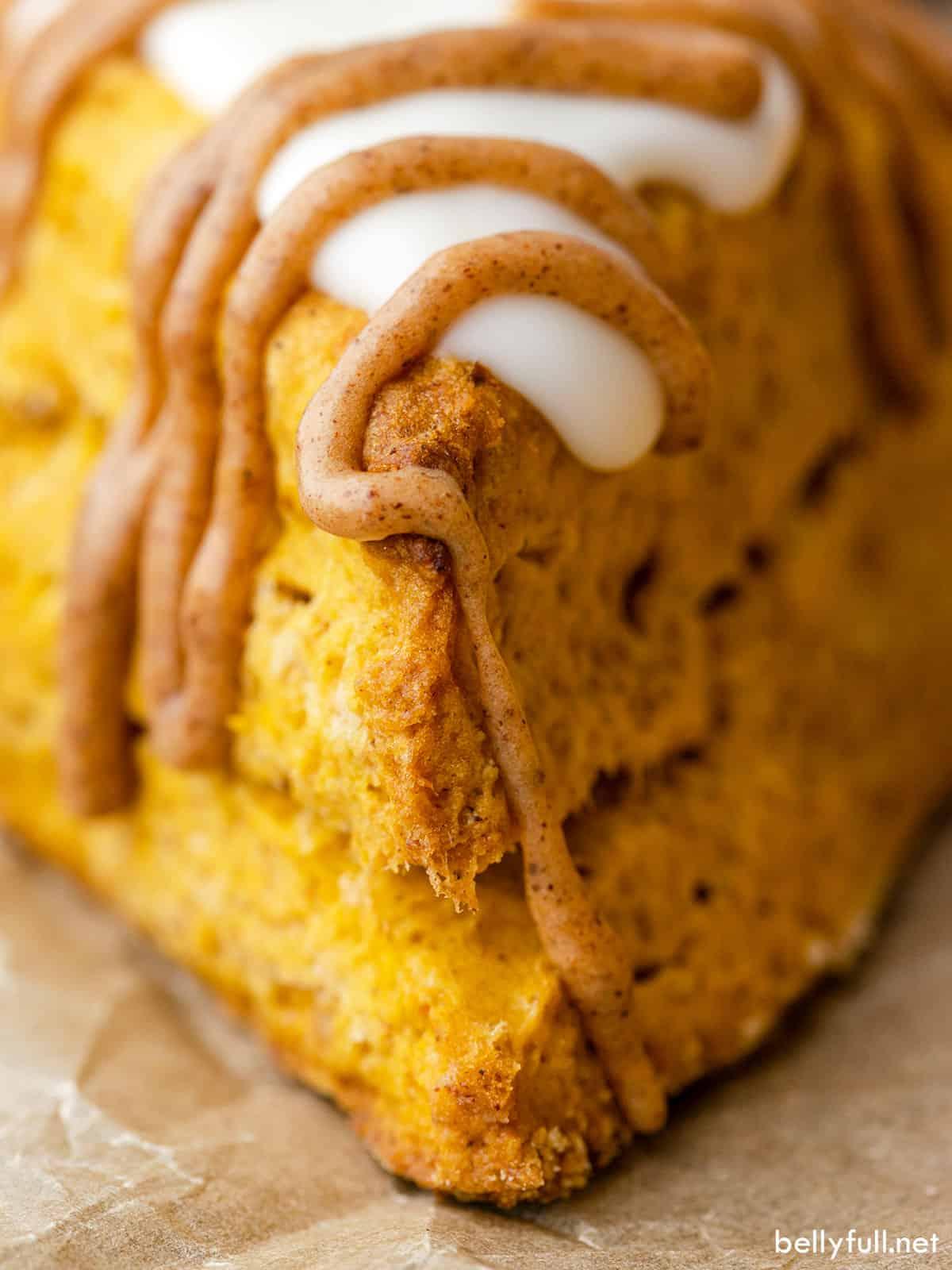 Close-up of a copycat Starbucks pumpkin scone
