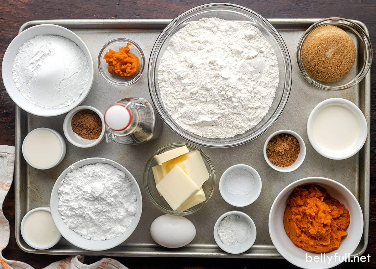 Overhead view of ingredients to make pumpkin scones
