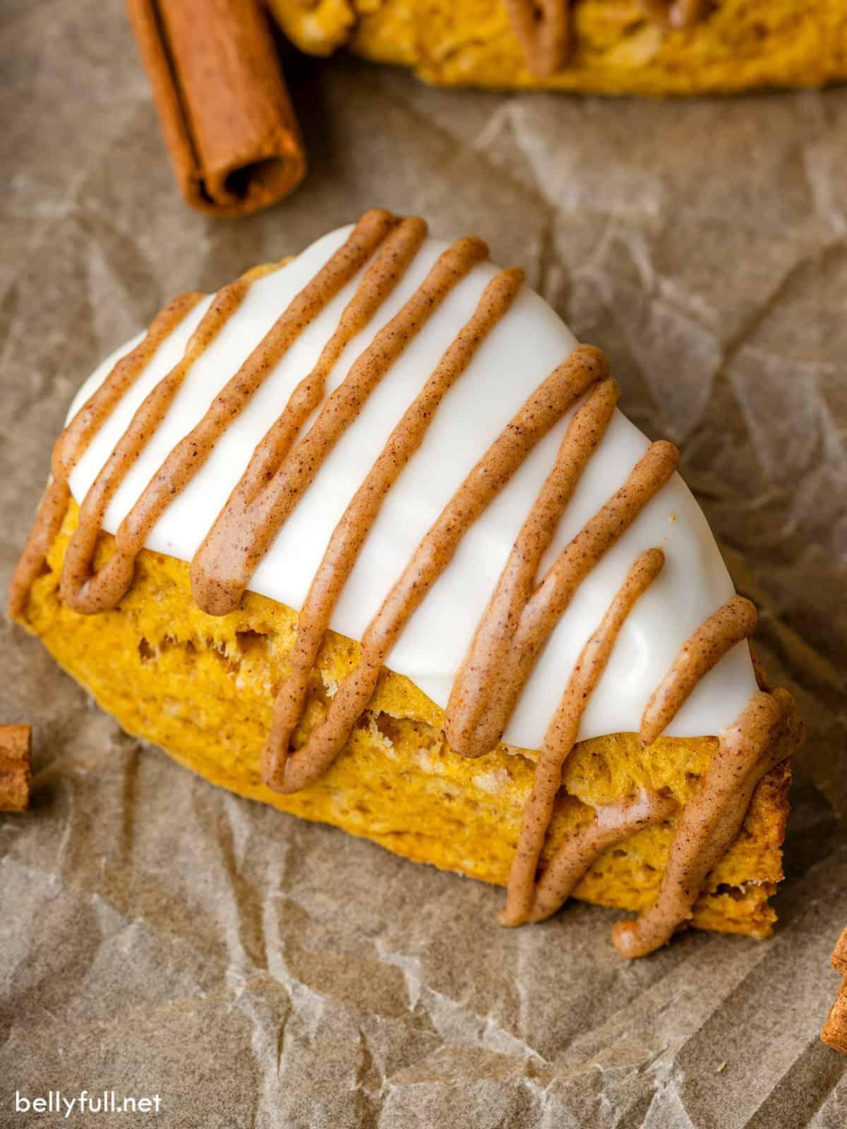 Overhead view of an easy pumpkin scone