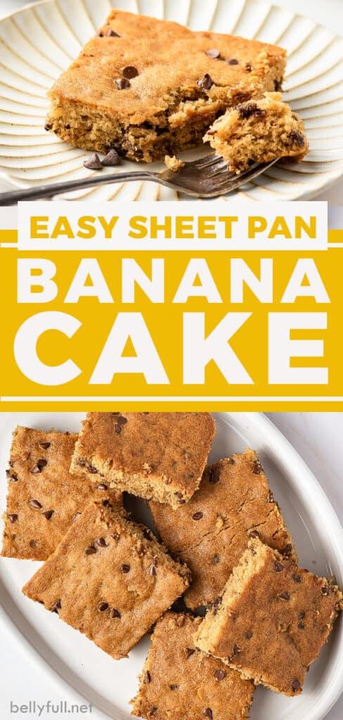 pin for sheet pan banana cake recipe