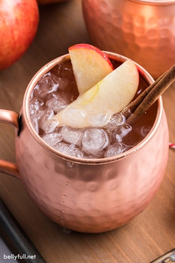An apple cider Moscow mule garnished with apple slices and cinnamon stick