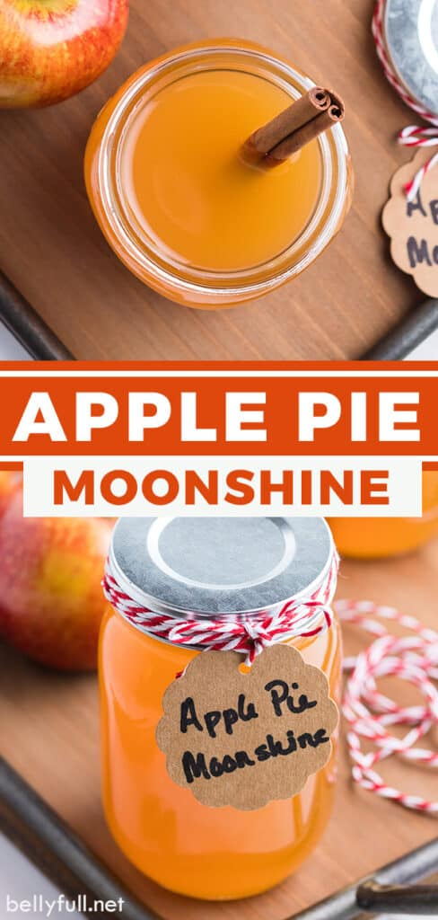 Two images of apple pie moonshine in a mason jar