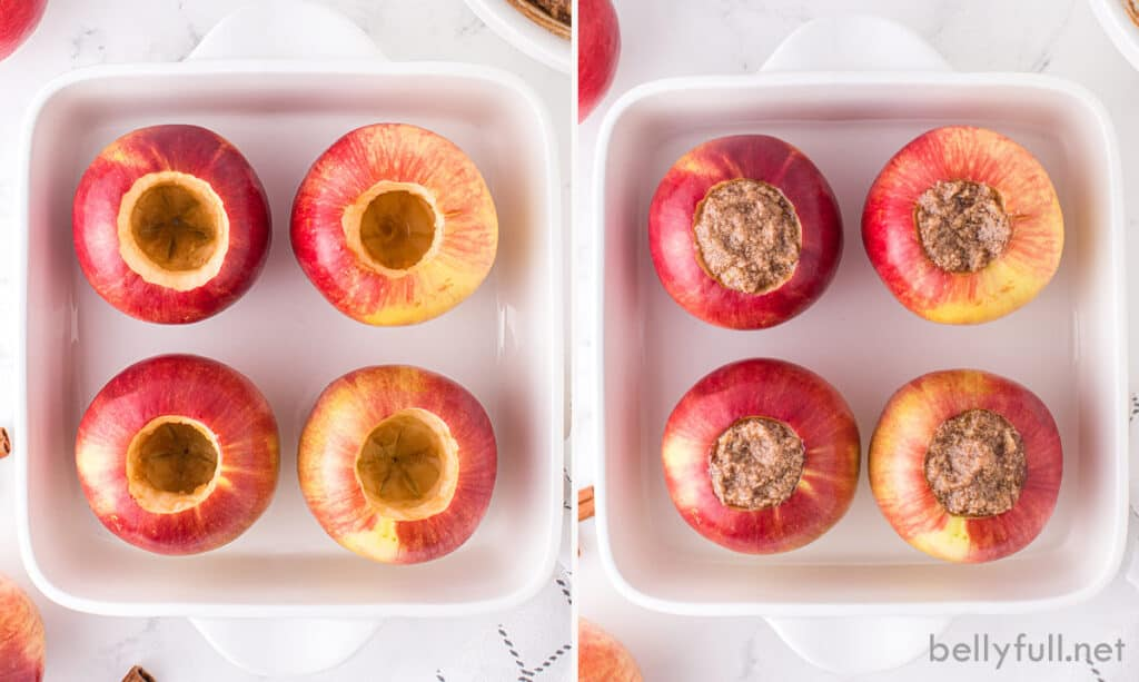 4 hollowed out whole apples in baking dish