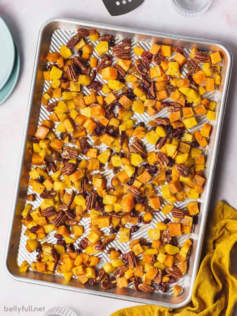 overhead sheet pan of roasted fall vegetables